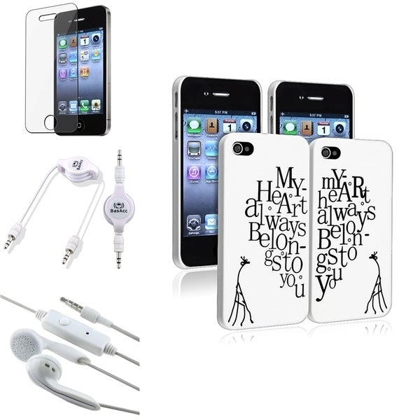 INSTEN Phone Case Cover/ Audio Cable/ LCD Protector for Apple iPhone 4/ 4S