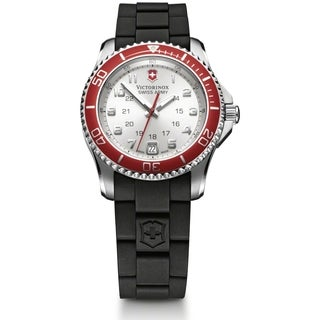 Swiss Army Women's Maverick GS Silver Dial Red Bezel Watch - 241484