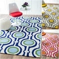 nuLOOM Handmade Modern Abstract Blue Rug (7'6 x 9'6)