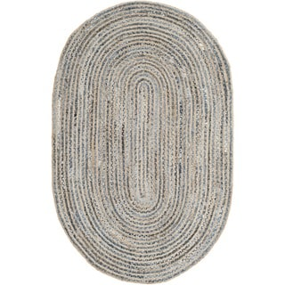 Safavieh Handwoven Cape Cod Braided-pattern Natural/ Blue Jute Rug (5' x 8')
