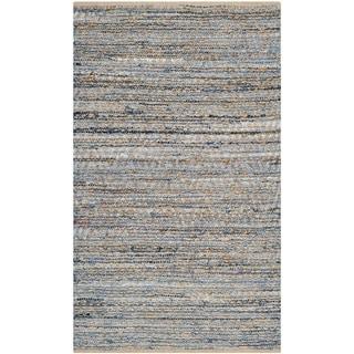 Safavieh Handwoven Cape Cod Braided Natural/ Blue Jute Rug (3' x 5')
