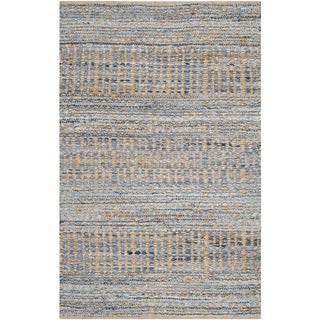 Safavieh Handwoven Cape Cod Casual Natural/ Blue Jute Rug (3' x 5')