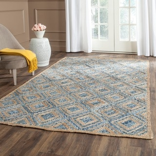 Safavieh Handwoven Cape Cod Square Pattern Natural/ Blue Jute Rug (3' x 5')