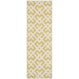 Safavieh Handmade Moroccan Chatham Light Gold/ Ivory Wool Rug (2'3 x 7')