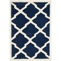 Contemporary Safavieh Handmade Moroccan Chatham Dark Blue/ Ivory Wool Rug (3' x 5')