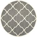 Safavieh Handmade Moroccan Chatham Dark Grey/ Ivory Wool Rug (5' Round)