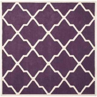 Safavieh Handmade Moroccan Chatham Purple/ Ivory Wool Rug (7' Square)