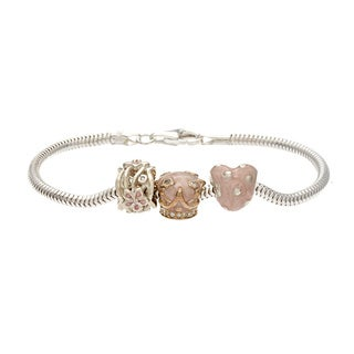 Sterling Silver Crystal and Enamel Pastel Girly Bead Charm Bracelet