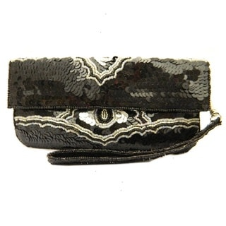 Handbeaded Black and Silver Sequins Wristlet Clutch Bag (India)