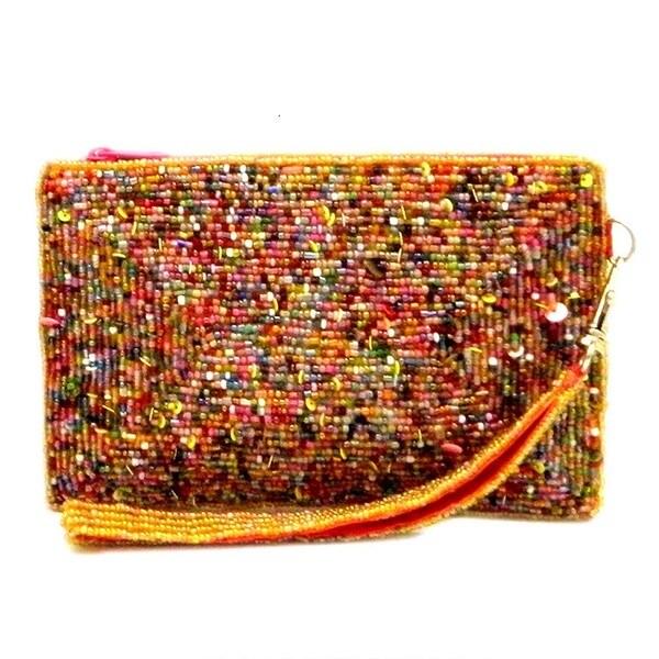 Handbeaded Multi-color Wristlet Pouch Bag (India)
