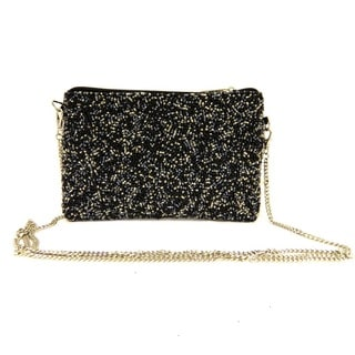 Handbeaded Black and Gunmetal Mini Messenger Cross Body Shoulder Bag (India)