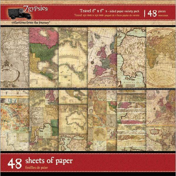 Gypsy Travels Double-Sided Paper Pack 6 X6 48/Sheets -