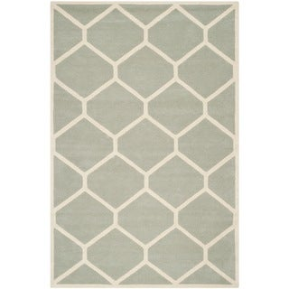 Safavieh Handmade Moroccan Chatham Gray/ Ivory Geometric Wool Rug (8'9 x 12')