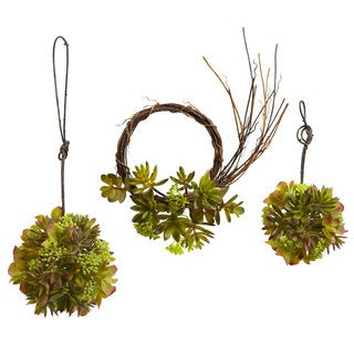 Mixed Succulent Wreath and Spheres (Set of 3)