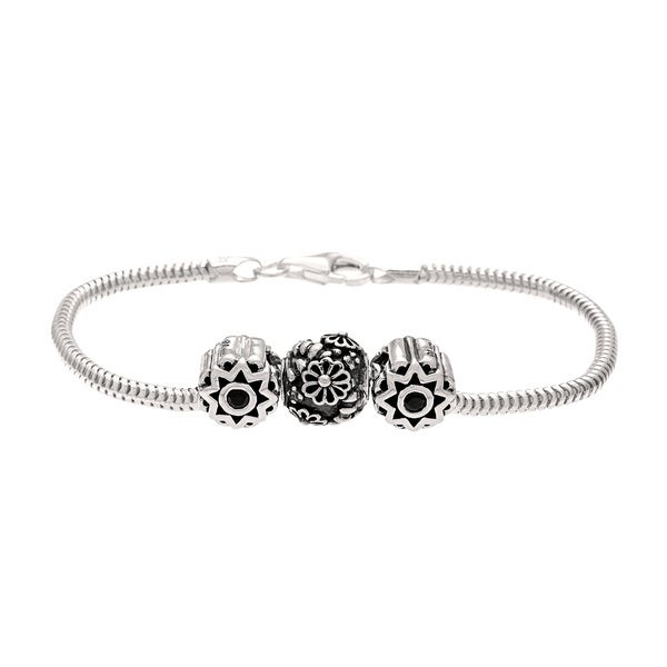 Sterling Silver Black and Yellow Crystal Flower Bead Charm Bracelet
