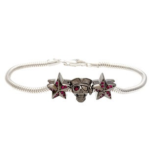 Sterling Silver Red Crystal Pirate and Star Bead Charm Bracelet