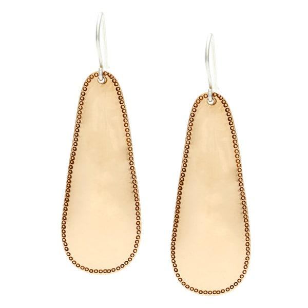Hammered Edge Copper Hanging Earrings (Nepal)