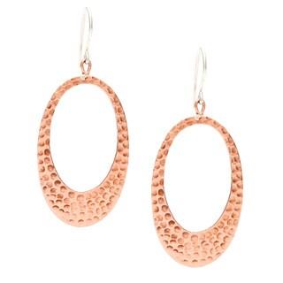 Hammered Copper Oval Loop Earrings (Nepal)