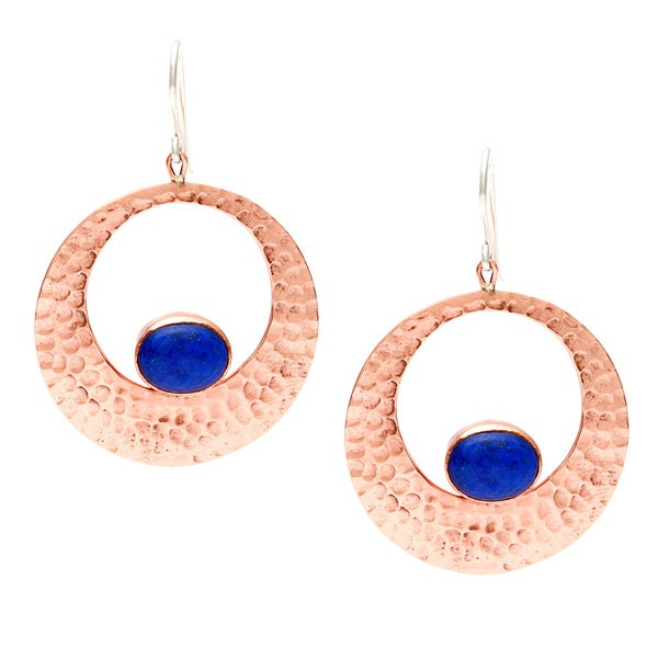 Hammered Copper Blue Lapis Circle Earrings (Nepal)