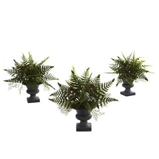 Mixed Fern Bush and Urn Set (Set of 3)