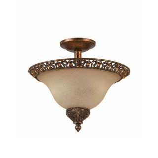 Crown Jewel 2-light Antique Gold Leaf Semi-flush Mount