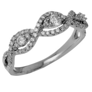 14k White Gold 3/5ct TDW Braided Vintage-Inspired Diamond Band (G-H, SI1-SI2)