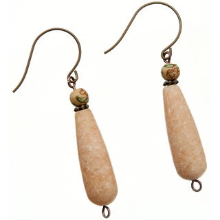 Natural Brass and Marble Earrings