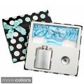 3-Ounce Blue Garter Belt Flask for Weddings with Gift Box