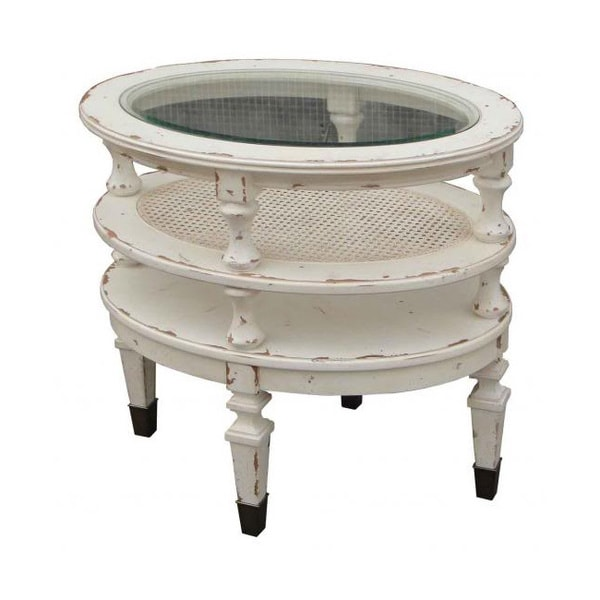 E. Providence Antique White Oval Chairside End Table