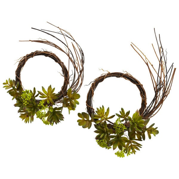 Mixed Succulent Wreaths (Set of 2)