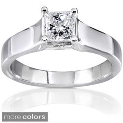 Annello 14k White Gold 1/2ct TDW Diamond Solitaire Ring (G-H, I1-I2)