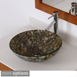 ELITE Sea Rocks Double Layer Glass Bowl Bathroom Vessel Sink/ Faucet