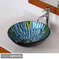 ELITE Tempered Glass Vessel Hand-painting Technology Faucet/ Sink