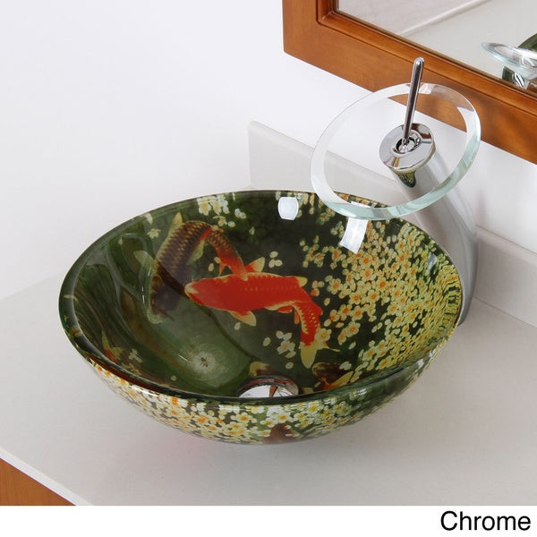 Elite N125F22T 'Koi and Lily Pond' Tempered Glass Bathroom Vessel Sink and Waterfall Faucet Combo