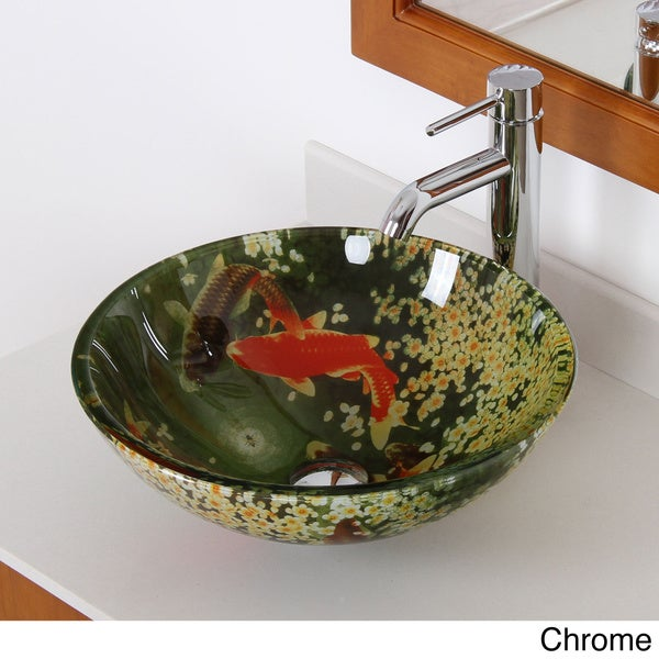 Elite N125F371023 'Koi and Lily Pond' Tempered Glass Bathroom Vessel Sink With Faucet Combo