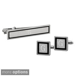 Silvertone Custom Engraved Black Border Cuff Links and Tie Clip Set