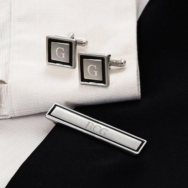 Silvertone Personalized Black Border Cuff Links and Tie Clip Set