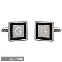 Silvertone Custom Engraved Black Border Designer Cuff Links