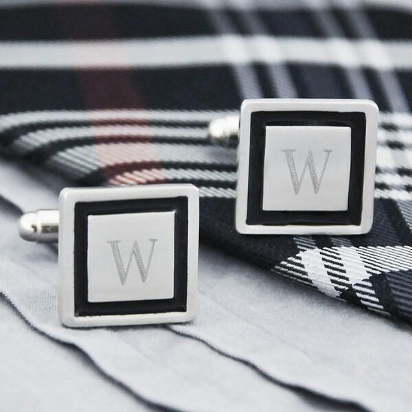 Silvertone Personalized Black Border Designer Cuff Links