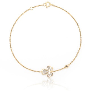 Blue Box Jewels Gold over Silver Cubic Zirconia Clover Bracelet