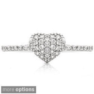 Blue Box Jewels Silver Cubic Zirconia Heart Promise Ring