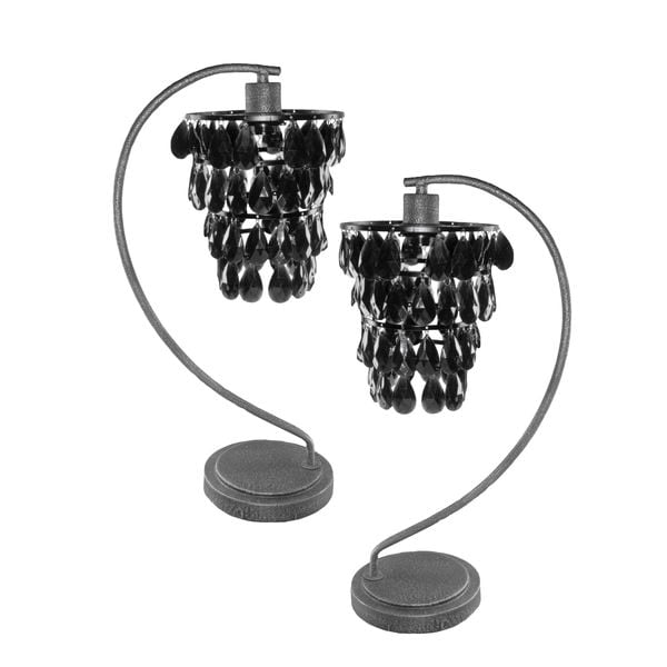 Set of 2 Black Drop Chandelier Table Lamps