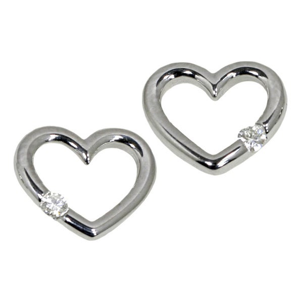 14k White Gold Diamond Accent Heart Earrings