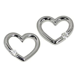 14k White Gold Diamond Accent Heart Earrings