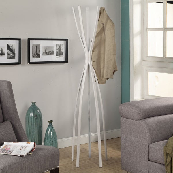 Satin White Metal 72-inch Contemporary Coat Rack