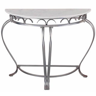 Legend Brushed Steel Marble Top Console Table