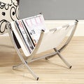 White Leather-look/ Chrome Metal Magazine Rack
