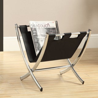 Black Leather Look/ Chrome Metal Magazine Rack