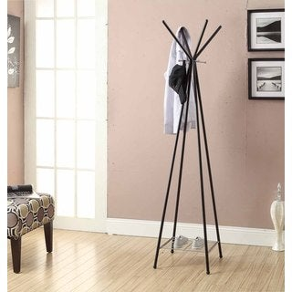 Black/ Chrome Metal 70-inch Coat Rack