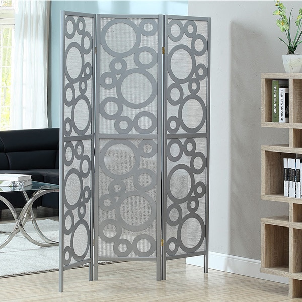 Silver Frame 3-panel 'Bubble Design' Folding Screen